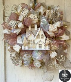 Shabby chic Christmas wreath pink luxe by MrsChristmasWorkshop