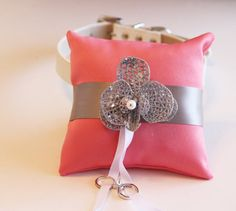 Blush and Gray Ring PillowRing Pillow attach to the by LADogStore, $68.50 #RingPillow #Wedding #Unique #LADogStore #LA #Dog #Store #Collar #Blush #Gray #Ring #Rings #White #BlushWedding #Amazing #Beautiful #Love
