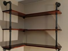 Kaylee's room How to Make a Rustic Industrial Black Pipe Bar Table Iron Pipe Shelves, Pipe Bookshelf, Plumbing Pipe Shelves, Industrial Pipe Shelves, Bar Shelves, Laundry Room Shelves, Iron Shelf, Rustic Industrial, Industrial Lamps