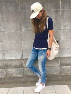 yukoさんの「コーデュロイキャップ(TODAYFUL)」を使ったコーディネート Cap Outfits For Women, Summer Outfits Women 30s, Clothes For Women, Fashion 101, Fashion Pants, Womens Fashion, Sporty Fashion, Sporty Style, Her Style