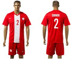 2016-2017 Euro Cup Poland #2 CIONEK Away Red Soccer Jersey