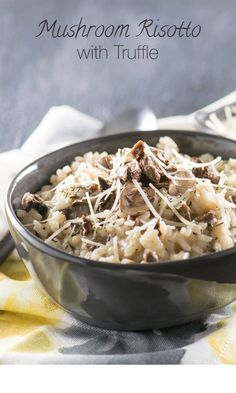 This creamy, earthy flavored truffle mushroom risotto will warm you up on the coldest of winter days and is perfect for a romantic date night at home! Truffle Mushroom, Truffle Oil, Mushroom Risotto, Risotto Recipes, Pasta Recipes, Entree Recipes, Cooking Recipes, Pork Recipes, Pizza