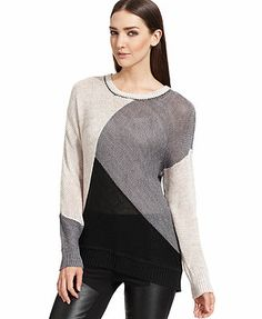 DKNY Jeans Long-Sleeve Colorblocked Sweater
