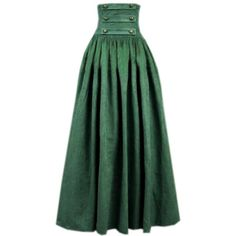 Partiss Womens Green Vintage High Waist Long Victorian Gothic... ($24) ❤ liked on Polyvore featuring skirts, steampunk skirt, green skirt, high waist skirt, green maxi skirt and long green maxi skirt