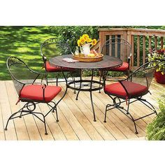 Better Homes and Gardens Clayton Court Patio Dining Set, Wrought Iron Table and 4 Chairs, Red Cushions, Seats 4 by Pasco Enterprises Ltd. at the The Blue Outdoors Gear - Patio