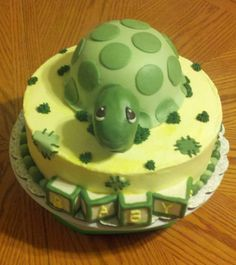 Precious Moments Turtle - This is a Precious Moments Turtle cake for a baby shower.  It didn't quite go as planned, but turned out ok!