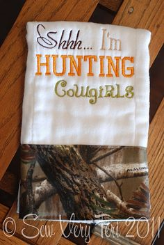 Girls camo hunting burp cloth