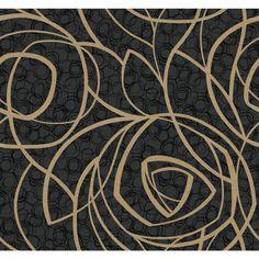 York Wallcoverings WH2666 Wallpap-Her Diamond Oasis Wallpaper Black Onyx / Golden Glitter / Black Patent Home Decor Wallpaper Wallpaper
