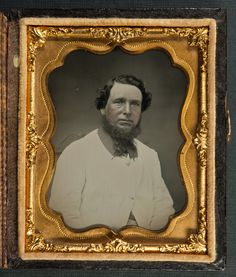 Superbly detailed and high quality ambrotype of an unknown bearded man - Ninth-plate ambrotype of unknown provenance. It came in a nice full case and the two glass plates have been sealed with tape much like you find daguerreotypes but uncommon for an ambrotype. This could account for the fabulous condition. Subtly tinted cheeks.  Probably late 1850s.