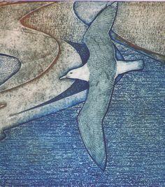 Wanderer / seagull - collagraph - Laurie Rudling, U. Bird Artwork, Watercolor Artwork, Collagraph Printmaking, Etching Prints, Wildlife Art, Bird Prints, Art Techniques, Collage Art, Illustration Art