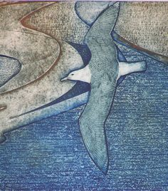 Wanderer / seagull - collagraph - Laurie Rudling, U.K.