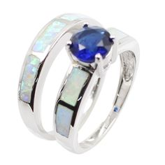 16.9$  Buy here  - 925 Sterling Silver Fashion 2Pcs Stackable Simulated Opal Band Ring Set with CZ Diamond Women Bridal Wedding Engagement Jewelry