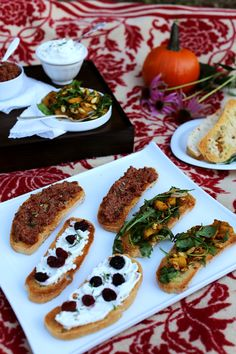 Roasted Pumpkin Crostini with Curry and Coconut Sugar, Whipped Goat Cheese with Wine soaked Cherries and Rosemary, and Mushroom Pâté  with Sun Dried Tomatoes and Pecans.. Crostini 3 Ways | Earthy Feast