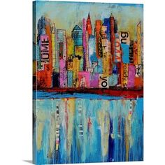 """GreatBigCanvas """"""""City by the Bay""""""""by Erin Ashley Canvas Wall Art, Multi-Color Abstract Canvas, Abstract Print, Canvas Wall Art, Canvas Prints, Big Canvas, Painting Prints, Art Prints, Thing 1, Detail Art"""