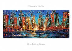 City  Bridge at Night in Chicago Giclee on canvas home