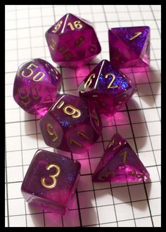 Dice - Dice Sets - Chessex Borealis Royal Purple w Gold Nums - Ebay Jan 2010 (Joe Barbercheck's DICE SETS)
