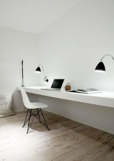 Stylish Penthouse Design with Calming Impression on Minimal Interior: Awesome Cop I Norm Office With White Wall Desk And Stylish Chair Compl...