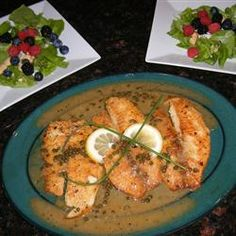 LEMON PICCATA WHITEFISH Ingredients    1/2 cup all-purpose flour  1 teaspoon lemon pepper, or to taste  salt to taste  1 pound trout fillets  2 tablespoons vegetable oil, or as needed  1 clove garlic, minced  1 cup dry white wine  1 1/2 teaspoons lemon zest  1/4 cup fresh lemon juice  2 tablespoons capers, drained  3 tablespoons butter  1 tablespoon chopped fresh parsley