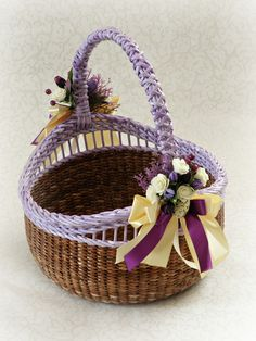 Traditional Basket Rustic Storage basket Round Wicker basket with handle Easter purple basket Easter table runner Egg carry basket Newspaper Basket, Newspaper Crafts, Basket Weaving, Hand Weaving, Wicker Baskets With Handles, Traditional Baskets, Wedding Gift Wrapping, Easter Traditions, Easter Table