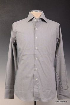 FINAMORE Hand Made Gray Cotton Dress Shirt NEW US 15.75 / EU 40