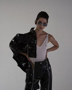 Made-To-Order Expect weeks production time Cropped patent leather jacket with zipper vents on front. Made in Los Angeles USA with imported fabrics Fashion Line, Daily Fashion, High Fashion, Women's Fashion, Fashion Photography Inspiration, Style Inspiration, Leather Jeans, Lambskin Leather, Leather Jacket