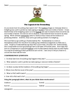 Groundhog's Day - Prediction Questions/Graphing, Story/Comprehension Questions, Fact & Opinion
