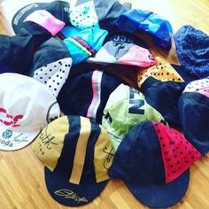 Just few of my #caps #collection ;) #cycling #rapha #lovecycling #womenscycling #casquette #casquetteurs