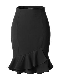 This fitted high waisted pencil midi skirt is a great staple item for business professional attire. Tuck your favorite blouse under this pencil skirt with a p Business Professional Attire, Business Attire, African Fashion Dresses, Fashion Outfits, Office Fashion Women, Skirt Outfits, Short Skirts, Ballet Flats, Size Chart