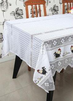 Toalha de Mesa Renda Galinha com Ovos Branca - Lar&Lazer