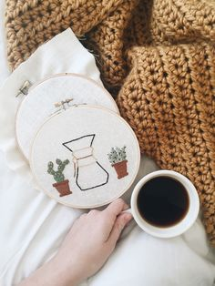 Chemex and Cactus Embroidery// Chemex Embroidery// Succulent Embroidery// Coffee Embroidery// Hipster Embroidery// by MutedRoseMercantile on Etsy https://www.etsy.com/listing/476483763/chemex-and-cactus-embroidery-chemex