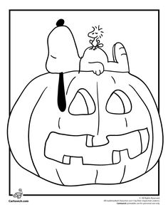 It's the Great Pumpkin Charlie Brown Coloring Pages Snoopy, Woodstock and a Jack o' Lantern Coloring Page – Cartoon Jr.