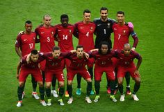 Portugal players line up for the team photos prior to the UEFA EURO 2016 Final match between Portugal and France at Stade de France on July 10, 2016 in Paris, France.