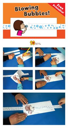 Check out this cute animation activity!  You can create the animation quite easily with this fun printable!  Here's what you'll need – 1. Our printable sheet which you can download here –  2. Scissors 3. Crayons 4. Scotch tape  Just cut the sheet, color as you wish, connect the bubble strips with scotch tape and make a slit in front of the girl blowing the bubbles. That's it! Have fun!