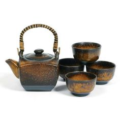 Japanese Stoneware Tea Set Gift Set with Tea Pot and Four Cups