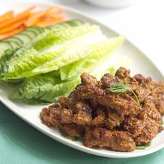 Make dinner spicy with these cool Marinated Peanut Butter Beef Satay lettuce wraps.