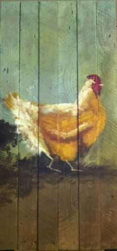 Original Painting on Recycled Wood Vintage Chicken by baileymama5