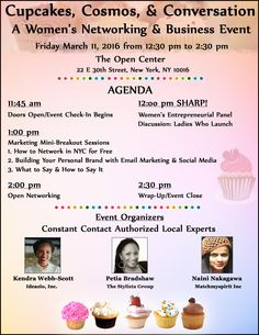 Cupcakes, Cosmos, & Conversation: A Women's Networking & Business Event Friday, March 11, 2016 || The Open Center, New York, NY 10016 Affordable Exhibit Tables Available  Register Online Here http://conta.cc/1TGRzqA