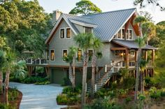 Metal Roof!  HGTV 2013 Dream Home Giveaway: Win a Home in South Carolina-I am in it to win it babyyyy! Deck Pictures, Home Pictures, Country Cottages, Low Country Homes, Country House Plans, Country Life, Country Style, Green Homes, Garage Door Design