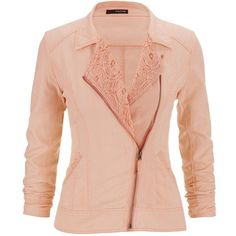 maurices Asymmetrical Linen Moto Jacket With Lace In Mango ($20) ❤ liked on Polyvore