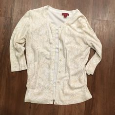Merona Cardigan Pretty Merona cardigan from Target. White and cream flowery pattern throughout. Pearl colored buttons. Merona Sweaters Cardigans