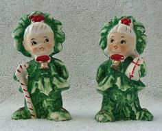 Vintage Xmas Christmas Tree Candy Cane Kids Salt & Pepper Shakers Green Holiday