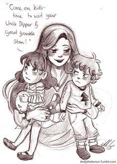 Since it can run in families, I had a headcanon that when Mabel grows up she also has twins, and every year she takes them back to Gravity Falls to see the old crew.Oh, and she still wears her hilarious sweaters ^U^ Original sketch available here.