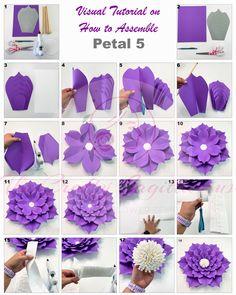 Giant Paper Flowers, Paper Flower Decor, Large Flowers, Flower Decorations, Paper Flowers Wedding, Flower Patterns, Flower Designs, Flower Template, Templates