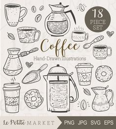 Cute Hand Drawn Café Clip Art Hand Drawn Coffee by LePetiteMarket