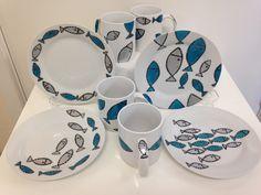 Hand drawn fish design on ceramics
