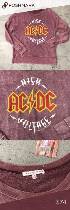 ✨New✨ Junk Food AC/DC Washed Sweatshirt NWT Junk Food AC/DC Sweatshirt  Pretty Mauve color, washed look, super soft and thin 50%poly 50% Cotton Junk Food Tops Sweatshirts & Hoodies