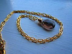 14k Gold Chain Smokey Quartz 14k Wire Wrapped by EvieStarBoutique, $105.00