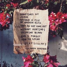 Sometimes my words become a pile of broken glass. They do not come out without hurting & dripping blood, and I forget how to speak. 🥀💢 #words #noorunnahar #difficulty #poetry #feels