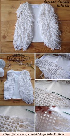 CROCHET FRINGE VEST: Use the back of a t-shirt. Cut out the sleeves and front. Crochet a mesh front and add the fringes. Mode Crochet, Crochet Diy, Crochet Girls, Crochet For Kids, Crochet Crafts, Crochet Projects, Diy Crafts, Crochet Tutorials, Gilet Crochet