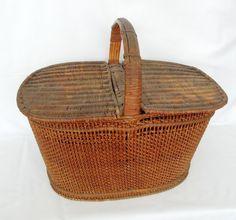 Antique Shaker Black Ash Splint Picnic Basket Basket, New England